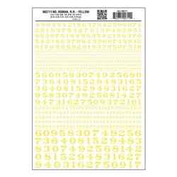 Numbers Dry Transfer Sheet - Roman RR Yellow Dt