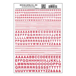 Letters Dry Transfer Sheet - Gothic RR Red Dt