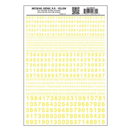 Numbers Dry Transfer Sheet - Gothic RR Yellow Dt