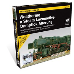 Train Color - Steam Engine Weathering Set (9 colours,2 brushes &