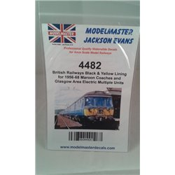 MM4482Modelmaster Decals - Black & Yellow COACH LINING for B.R Maroon Livery 1956-1965