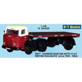 Karrier Bantam Artic with Single Axle Flatbed Trailer - British Railways