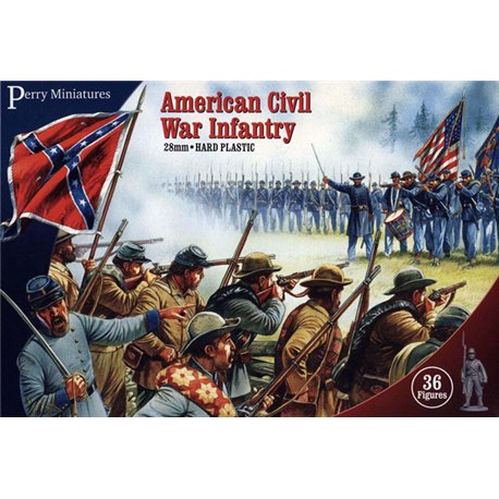 Plastic American Civil War Infantry - 28mm figures x36