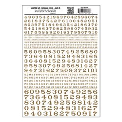 Numbers Roman RR Gold Dry transfer