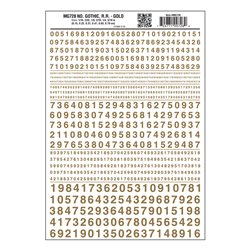 Numbers Gothic RR Gold Dry transfer
