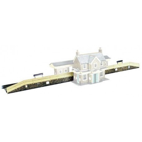 Station Platforms - Card Kit, Overall size: 610 x 50 x 16mm