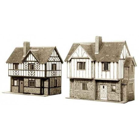 Two Elizabethan Cottages H: 110mm - Card Kit