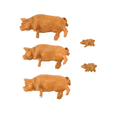 Pack of 5 Pigs, 3 adults and 2 piglets