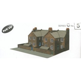 Four Red Brick Terraced Backs H: 113mm - Card Kit