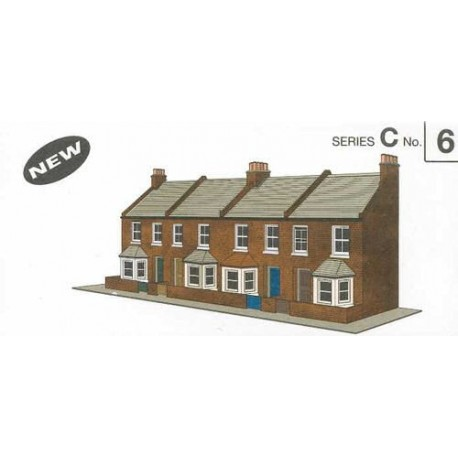 Four Red Brick Terraced Fronts H: 113mm - Card Kit