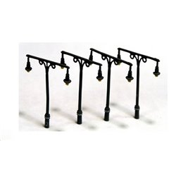 Tall Station Lamps Twin Head x 4 (N Scale 1/148th)