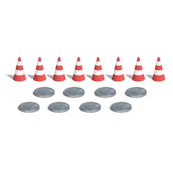 8 traffic cones and 8 manhole covers