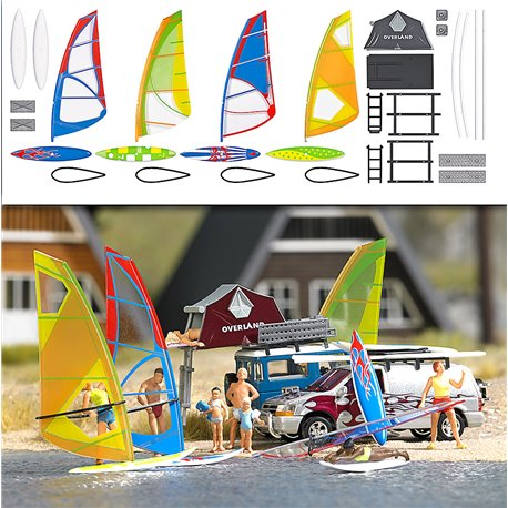 Windsurfer Set - Kit - pkg(4) -- HO Scale Model Railroad Building Accessory