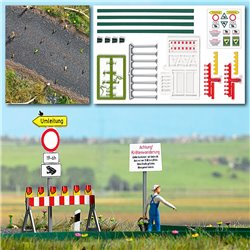 Toad migration area - signs and barricades with