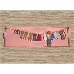 Washing Line, Clothes & Figure 1930/50's (O scale 1/43rd)