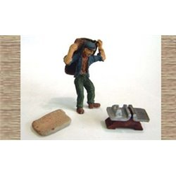 Coalman Figure, Coal Scales & empty sacks (O scale 1/43rd)