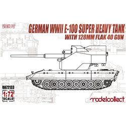 E-100 WWII Super Heavy Tank with 128mm Flak 40 Zwilling Gun - 1/72 scale