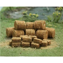 N Gauge Straw Bales (10 round / 15 rectangle)