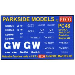 Transfers for ex G.W.R. 'Mink G' Goods Van