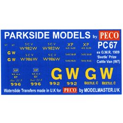 Transfers for ex G.W.R. 'Beetle' 1909 Prize Cattle Van
