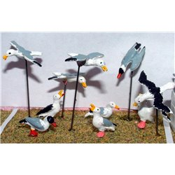 10 Assorted Seagulls (O scale 1/43rd) - Unpainted