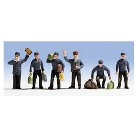 N Scale (1/148 - 1/160)Train Personnel Carrying Luggage (6) Six Men by Noch