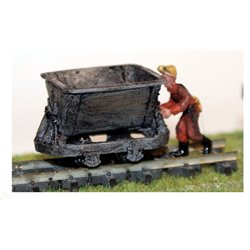 Tipping/ore wagon and action mining figure (OO scale 1/76th)