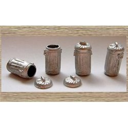 4 Metal Dustbins with dustbin lids (O scale 1/43rd)