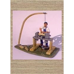 Pole Lathe & Worker (woodworking) (O scale 1/43rd)