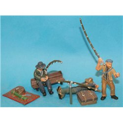 Bank/Riverside Fisherman, equipment and rods ( O scale 1/43rd)