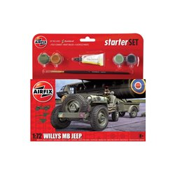 Willys Jeep Starter Set includes paints, brushes and glue - 1:72