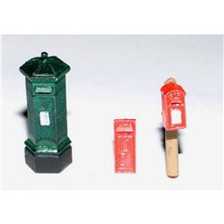 Painted - 3 different Victorian Pillar Boxes (OOScale 1 /76th)