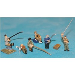 6 River/Bankside Fisherman equipment and rods. (N scale 1/144th)