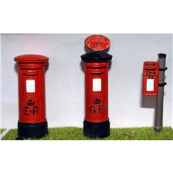 L2 Later Pillar Boxes - 3 assorted Unpainted Kit O Scale 1:43