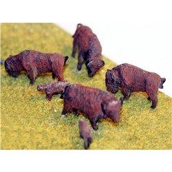 USA1 6 Buffalo's (4 adults 2 calves) Unpainted Kit OO Scale 1:76