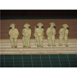 Unpainted Seated British Infantry - 1/56 scale 5 Figure Set