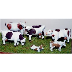4 Dexter Cows (3/4 size) and 2 calves Unpainted Kit OO Scale 1:76