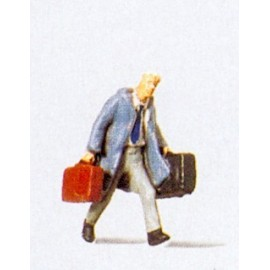 Traveller Hurrying with Suitcases