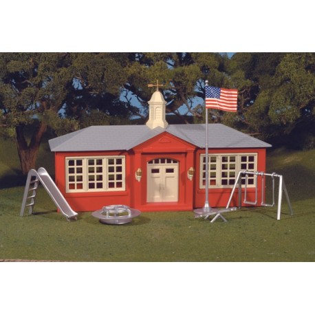Ready Built - Schoolhouse W/Playground Equipment