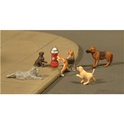 Dogs with Fire Hydrant (6/Pack)