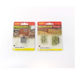 2x N gauge Hornby Lyddle End scenic models - Platelayers hut & Granite wall Second Hand