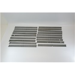 Bundle of 18x Hornby R601 Double-Straight track sections, steel rail, 00 gauge Used