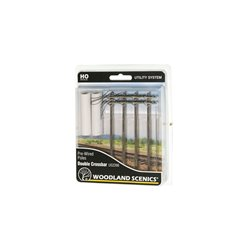 Pre-Wired Poles - Double Crossbar - HO Scale