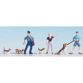 Dog Walkers (2) & Dogs (4) & Delivery Man