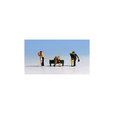 N Scale (1/148 - 1/160) Courting Couples (3 Couples & Bench)(6) Three Men Three Women by Noch