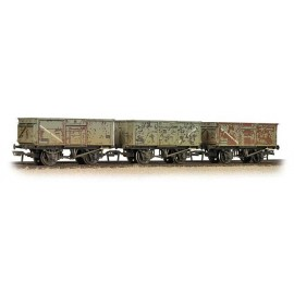 Triple Pack 16 Ton Steel Mineral Wagons BR Grey ? Weathered