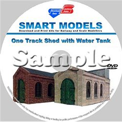 Single Track Engine Shed with Water Tower Cream Brick-OO